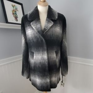Sam Edelman Plaid Black Mohair wool Pea Coat S